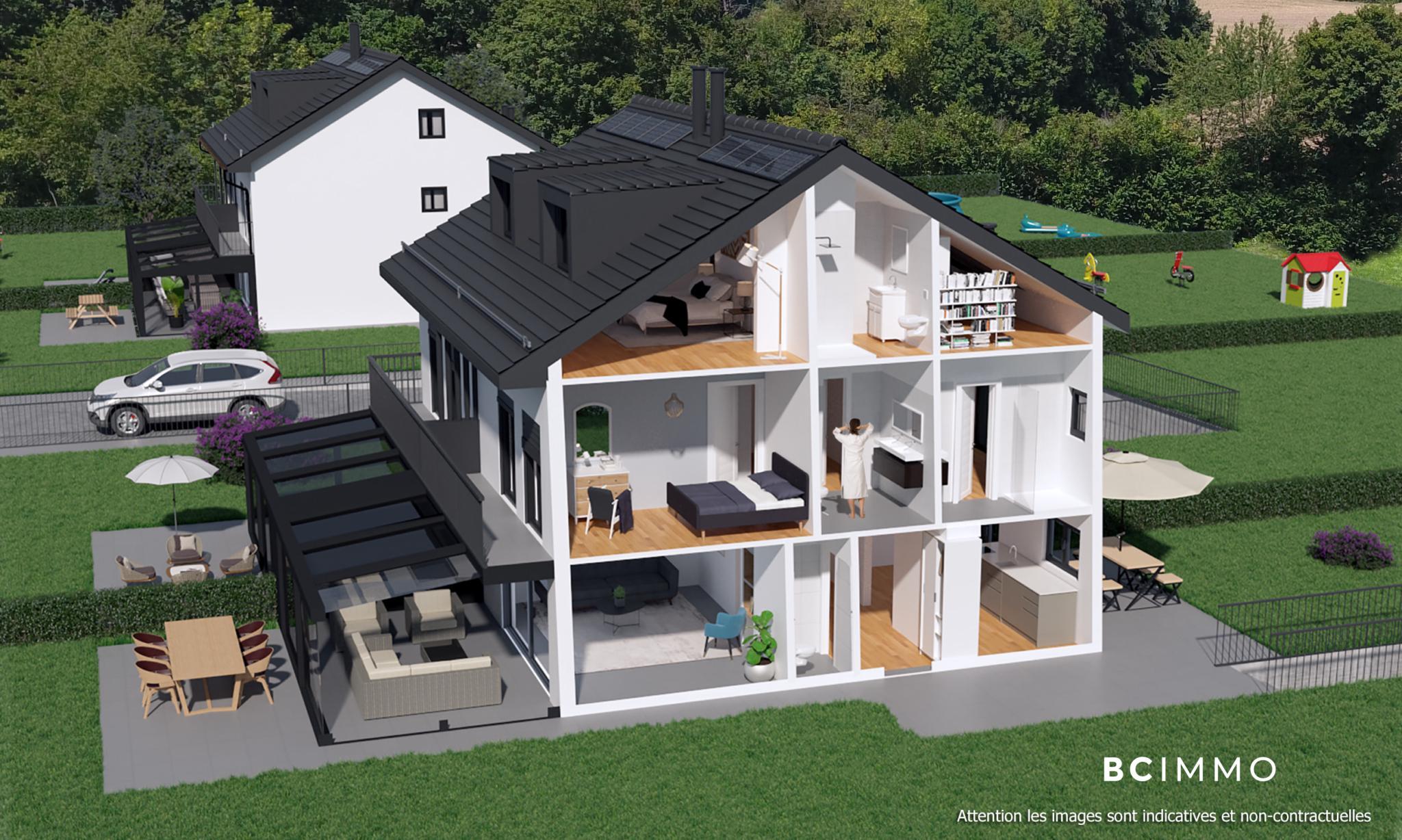 BC Immo - CHANTIER EN COURS - Magnifique projet de villas jumelles avec garage souterrain sur la commune de Jouxtens-Mézery - 1008KG40-2