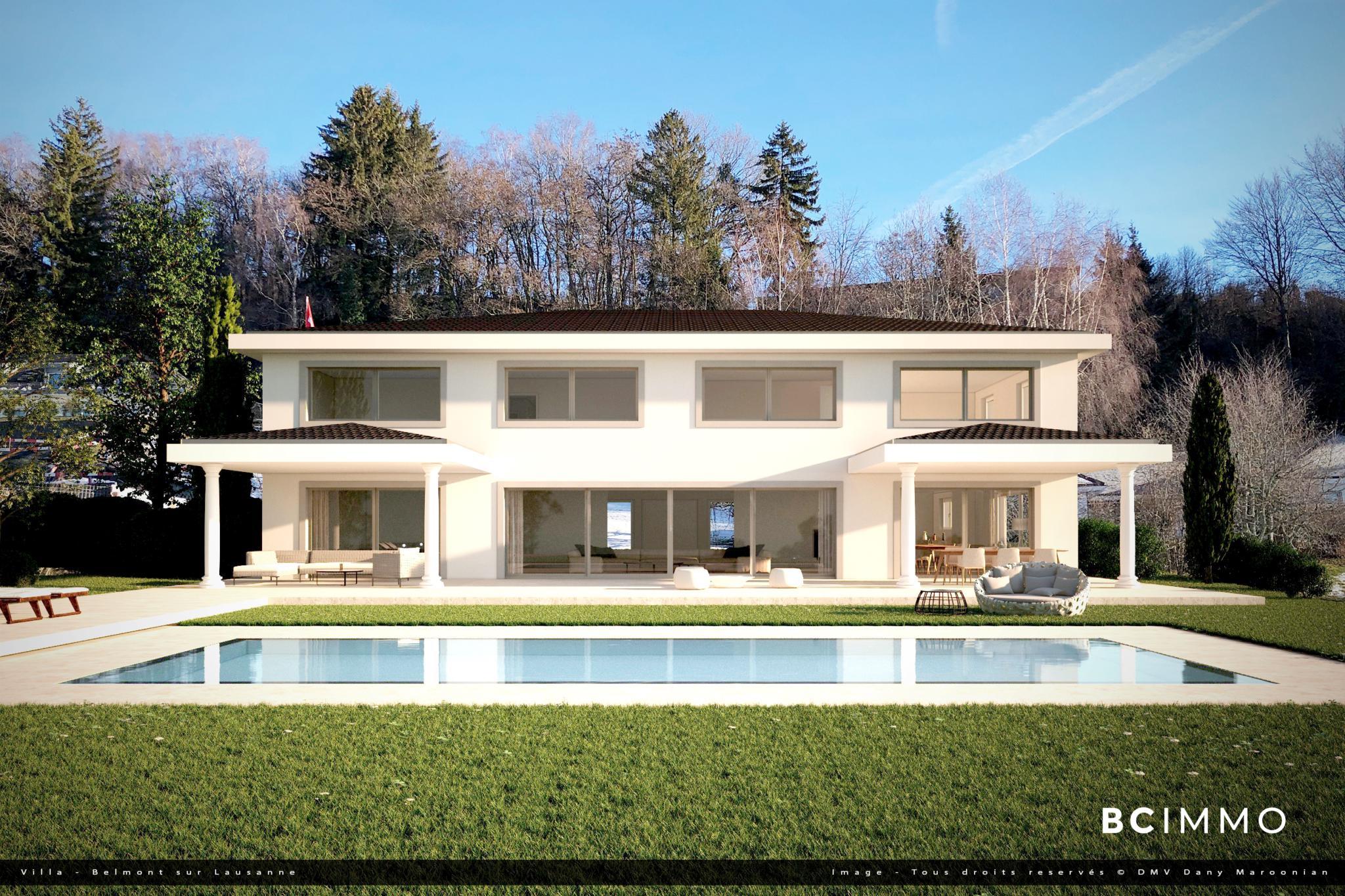 BC Immo - Somptueuse villa avec une vue panoramique sur le Lac Léman et les Alpes  - 1092HBVP