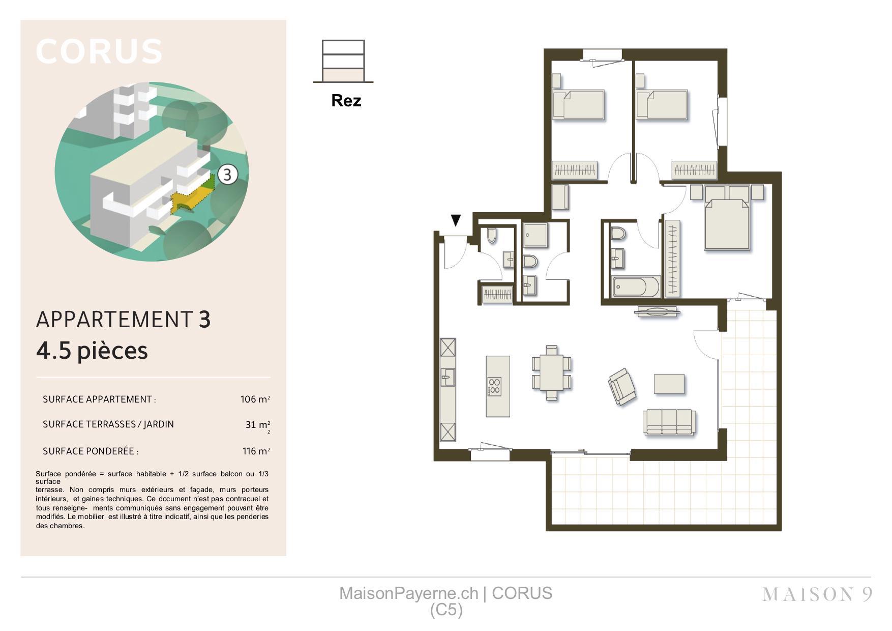 BC Immo - Appartement neuf en rez-de-chaussée - Eloigné des nuisances - 8 minutes en bus du centre - C5-03
