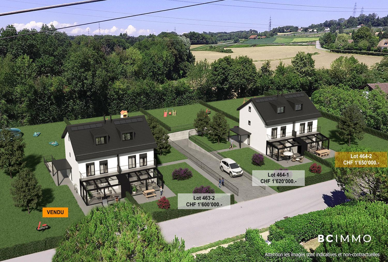 BC Immo - Magnifique projet de villas jumelles avec garage souterrain sur la commune de Jouxtens-Mézery - 1008KG45-3