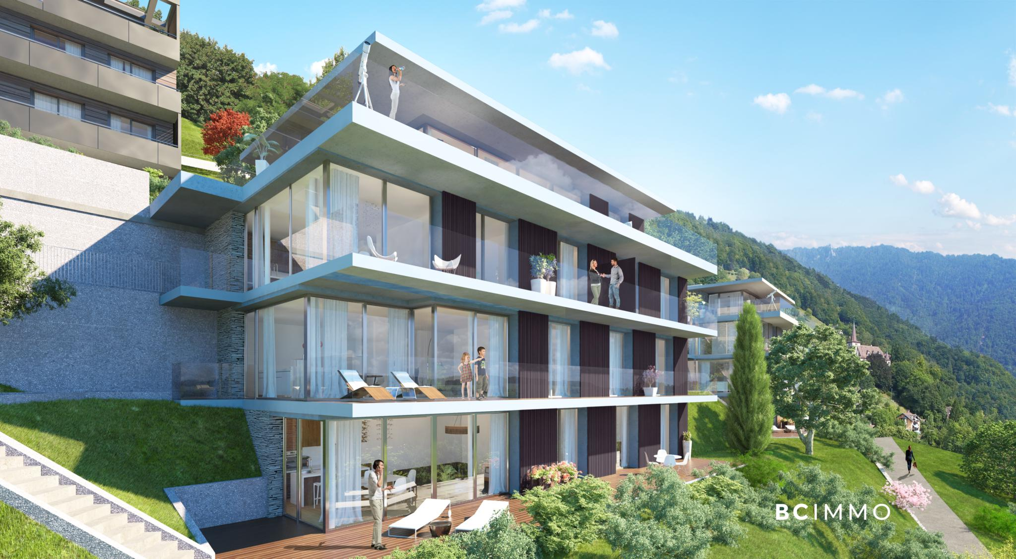 BC Immo - Appartement avec jardin - Glion  - 1823HBVB-A001