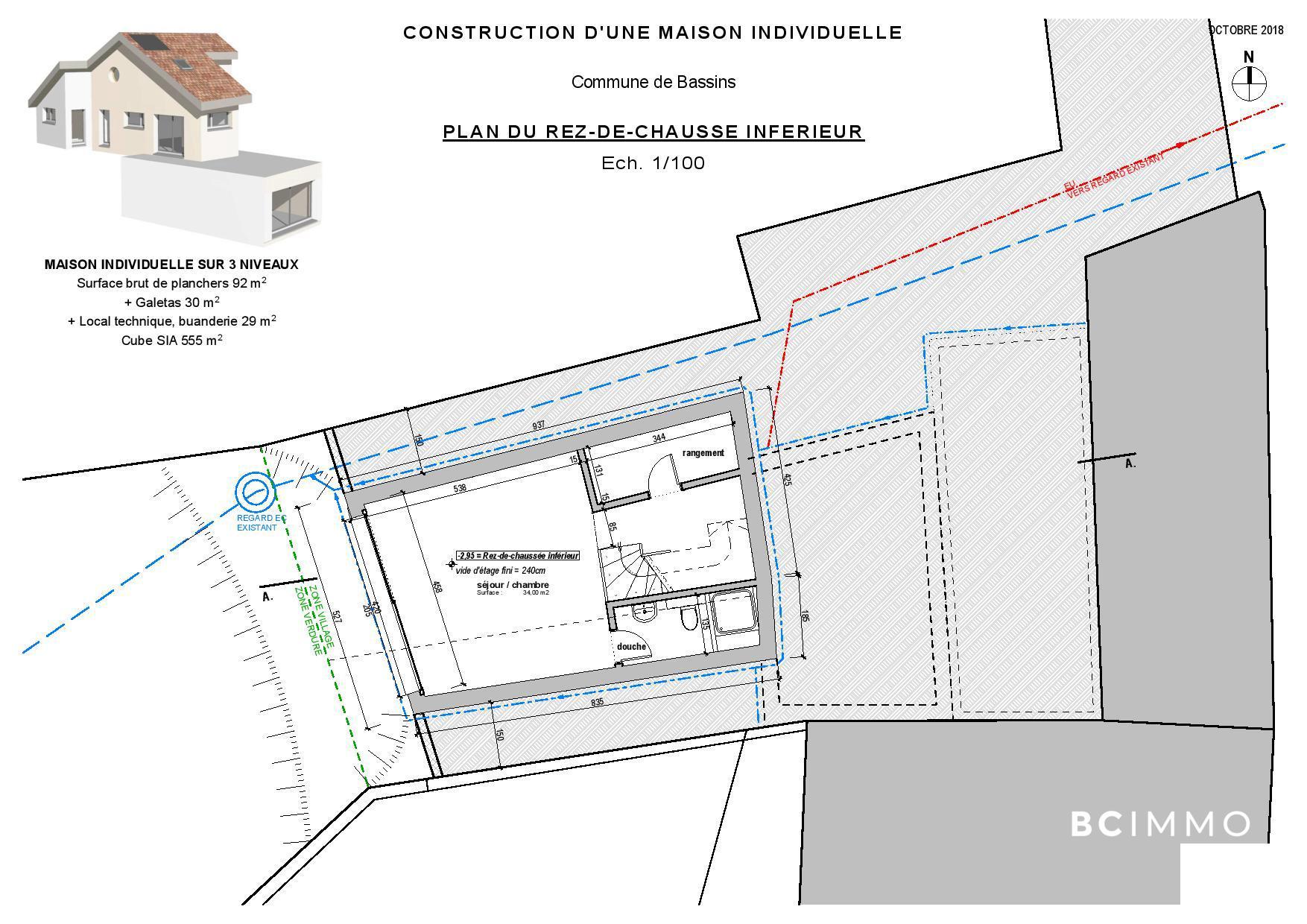 BC Immo - Maison villageoise individuelle sur plan au coeur de Bassins - 1269KG25